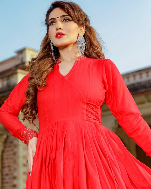 Red printed angrakha dress 1