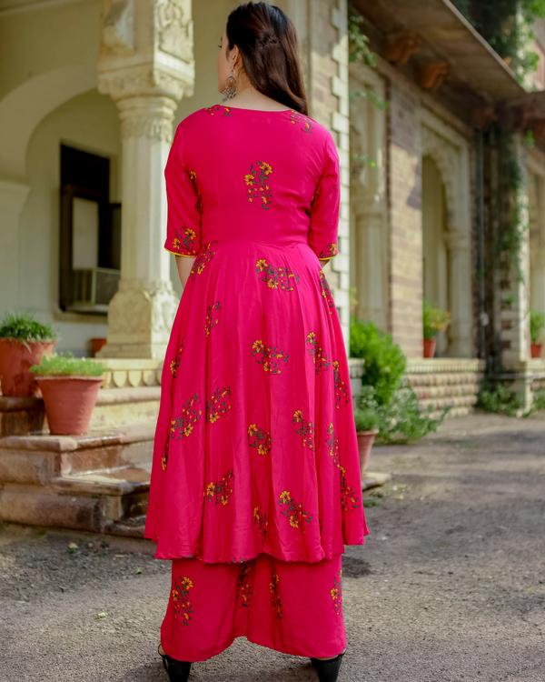 Pink daffodil kurta with palazzos 1