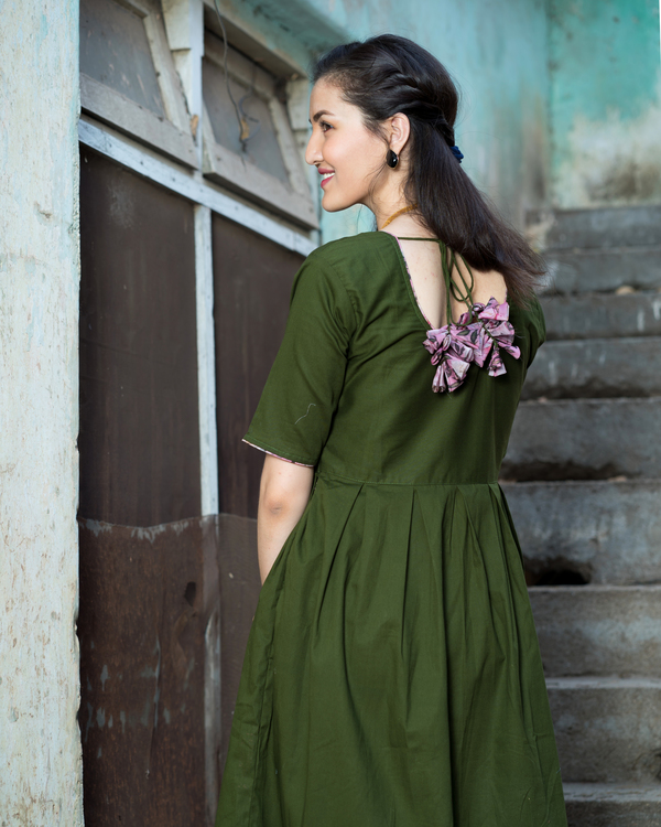 Olive green dress with floral organza dupatta 3