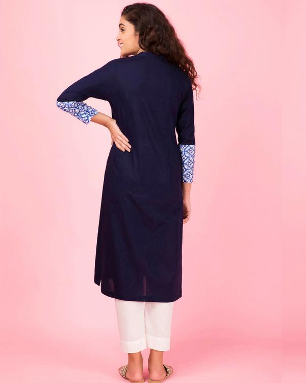 Royal blue colorblock kurta 1