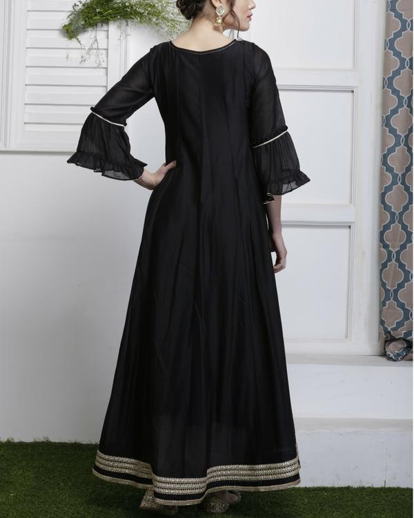 Black and gold chanderi anarkali dress 1