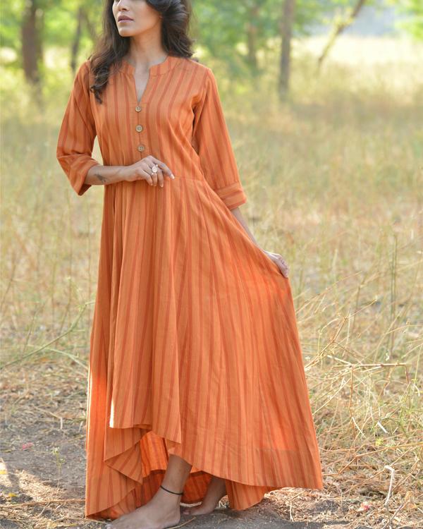 Orange buttoned high low maxi dress 1