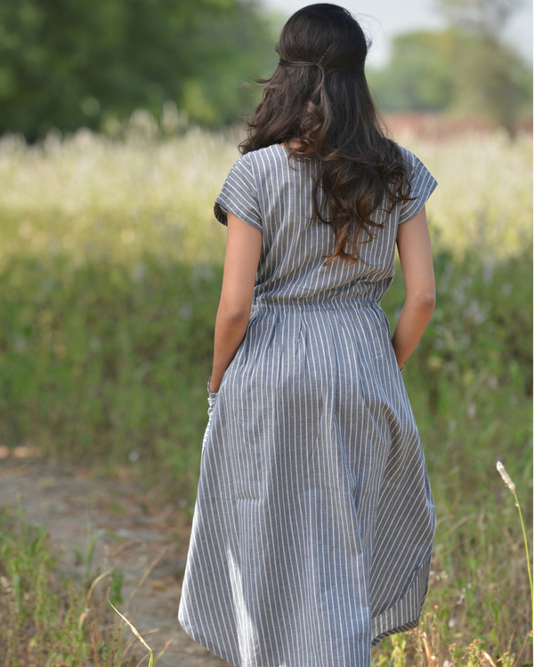 Grey stripe midi dress 1