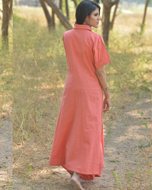 Blush peach cotton maxi dress 1