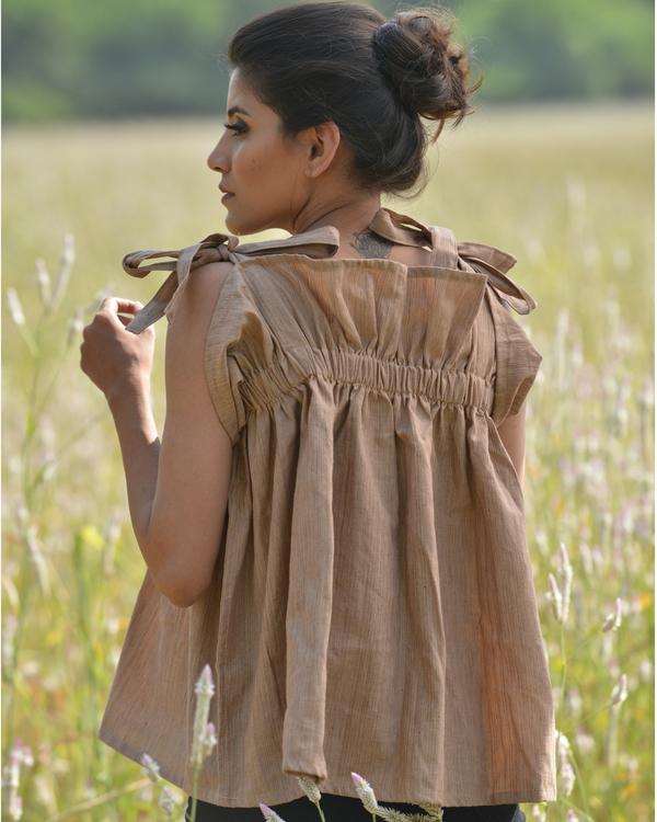 Ruffled brown cotton top 1