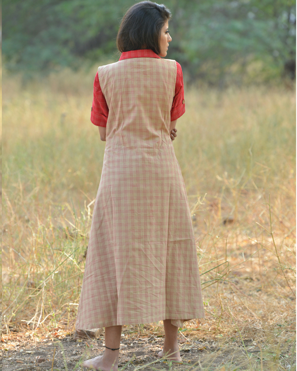 Red and brown khadi dress 1