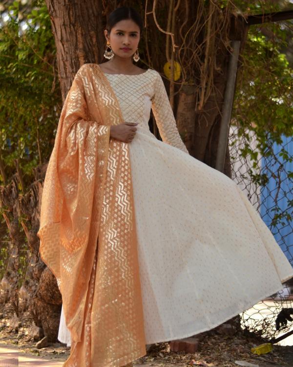 White pastel bling dress with dupatta 2