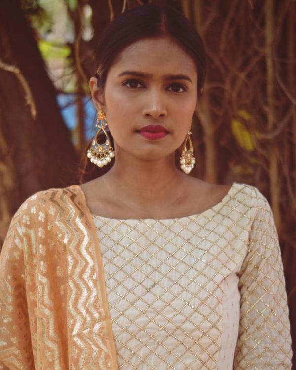 White pastel bling dress with dupatta 1