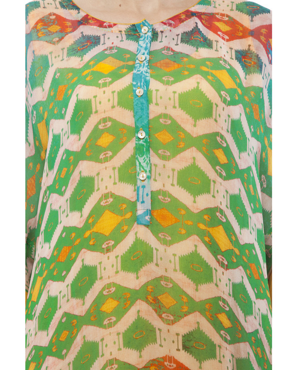Green & yellow kantha georgette tunic 4