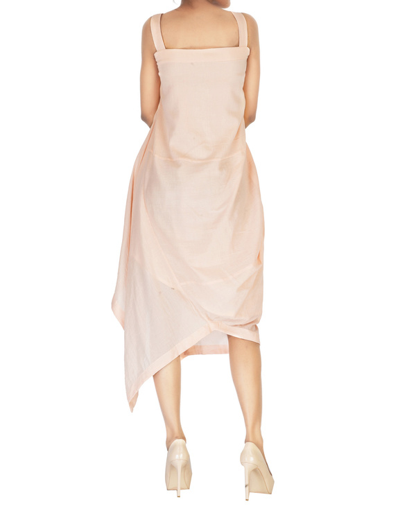 Asymmetrical side cowl dress with straps 1