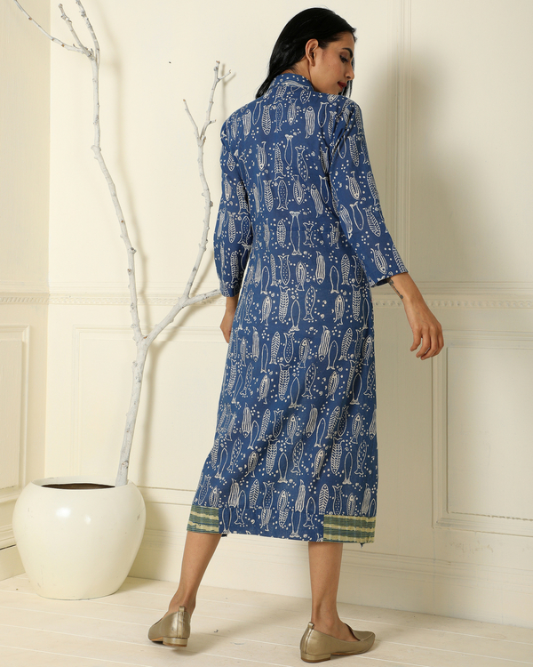 Indigo gathered fish line dress 1