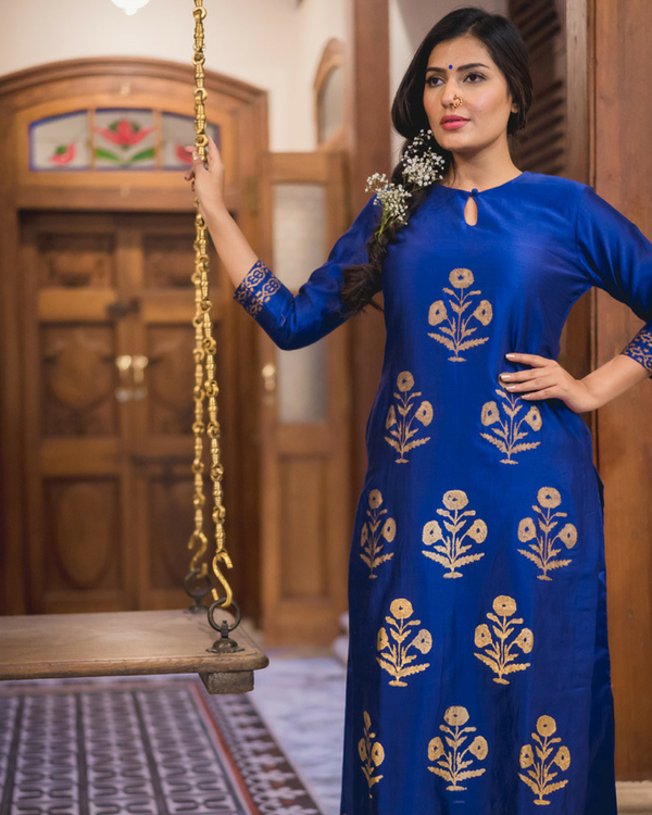 Midnight blue kurta set with dupatta 1