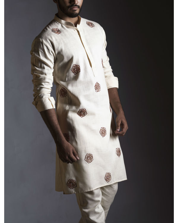 Threadwork cream kurta with pants 1