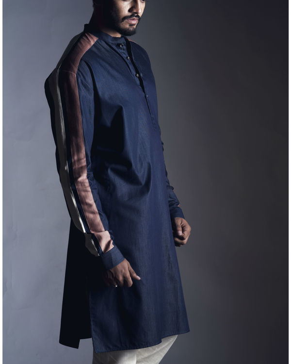 Navy straight kurta with pants 1