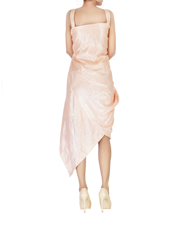 Lurex asymmetrical side cowl dress with straps 1