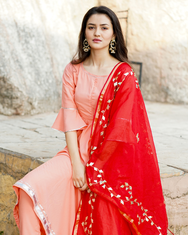 Pink gathered kurta set with red gota work dupatta 2