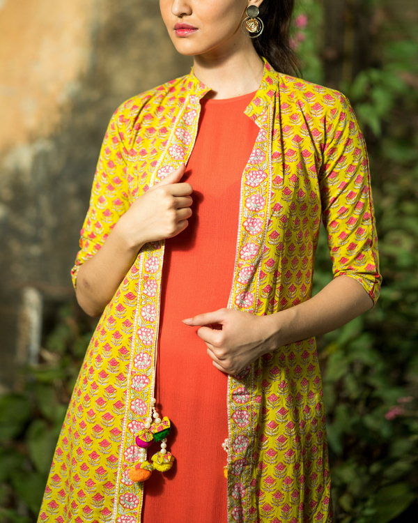 Handprinted Cotton Frill Dress with Jacket 1