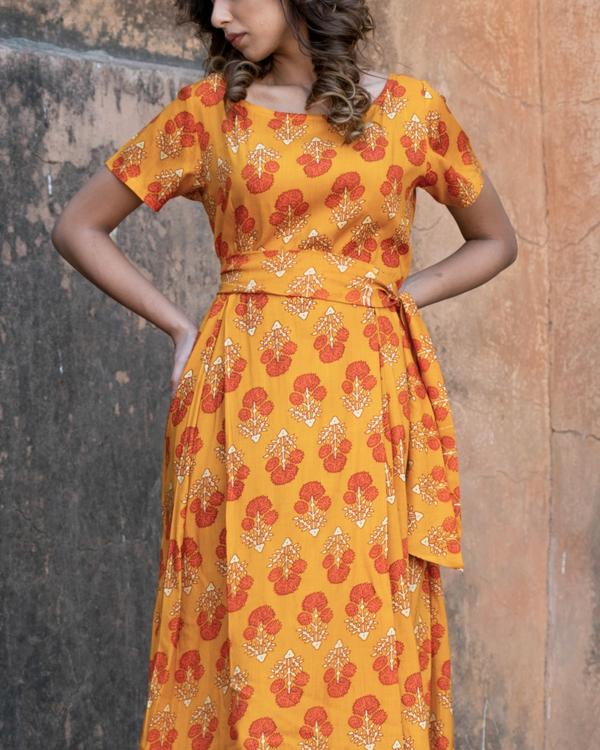 Orange block printed boxed dress 1