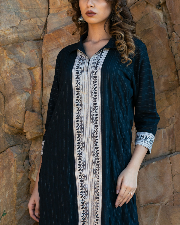 Black self striped kurta set 1