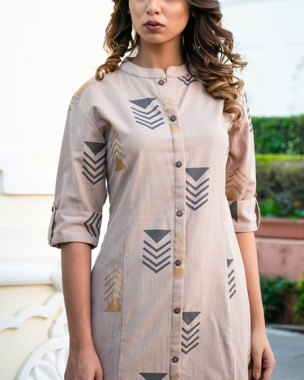 Grey geometric kurta set 2