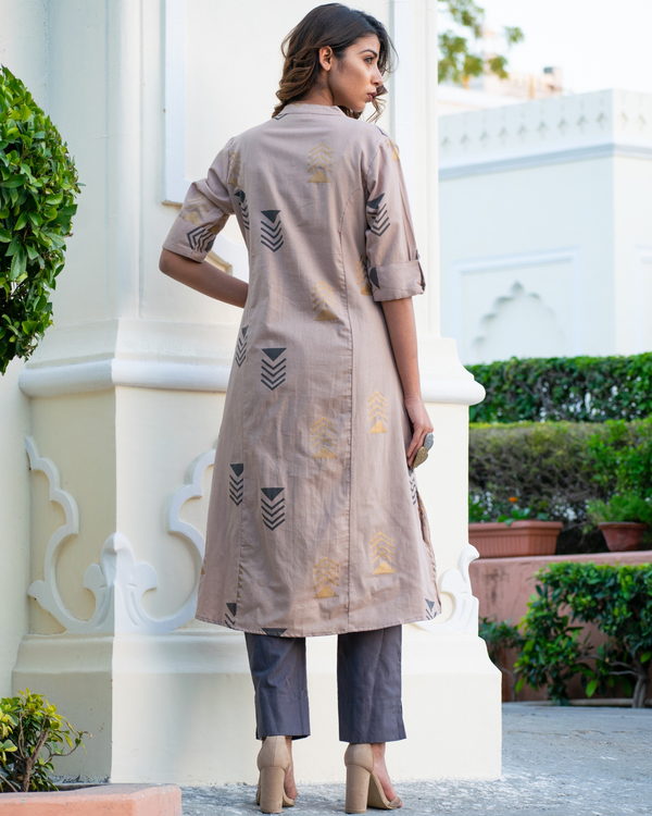 Grey geometric kurta set 1