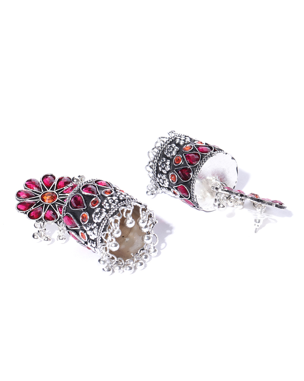 Silver-toned & pink dome textured jhumkas 1