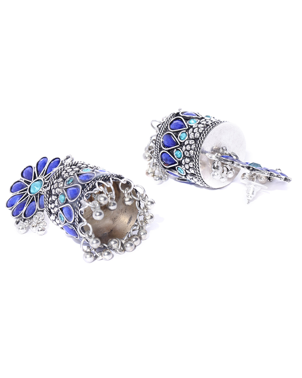 Oxidized silver & blue stone-studded jhumkas 1