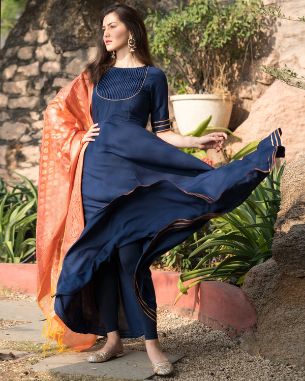 Royal blue flared gota work dress with dupatta 1