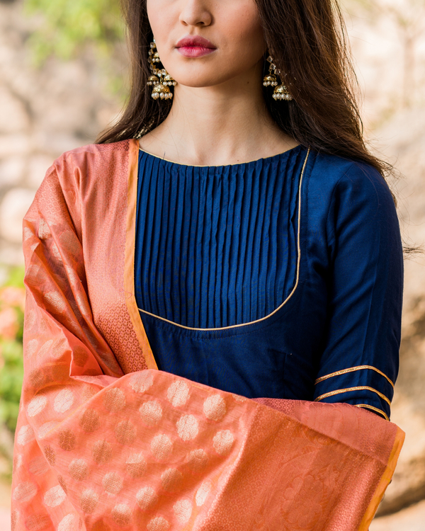 Royal blue flared gota work dress with dupatta 3