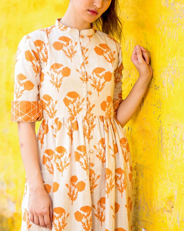 Orange floral cape with pants 1
