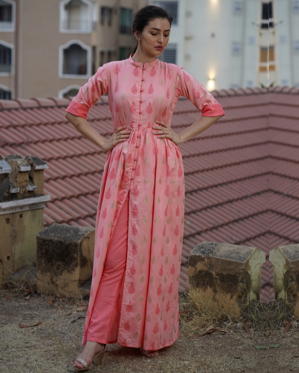 Peach printed cape with striped pants 2