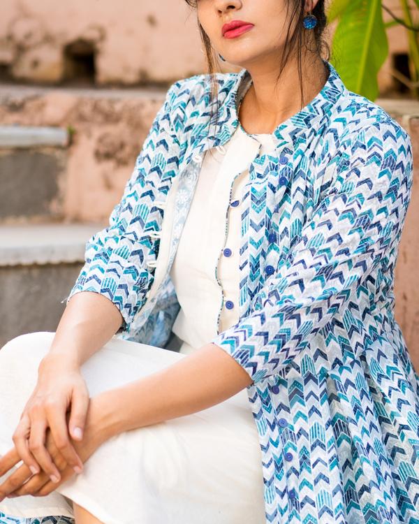 Blue schifi work jacket with dress 1
