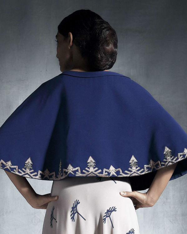 Blue embroidered cape 1