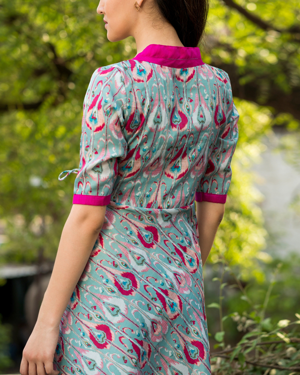 Blue and pink flared wrap dress 1