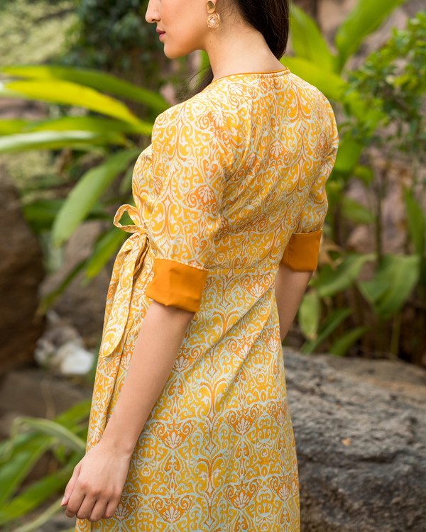 Yellow printed wrap dress 1