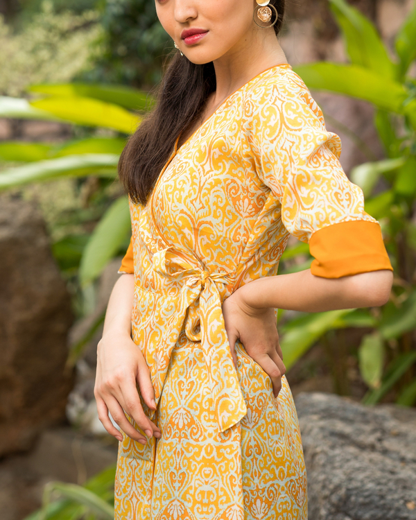 Yellow printed wrap dress 2