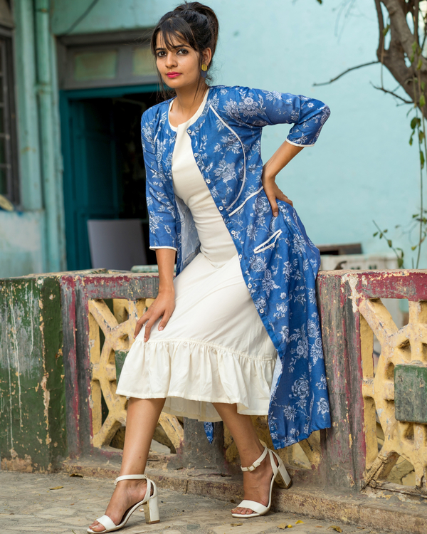 Blue printed jacket with dress 2