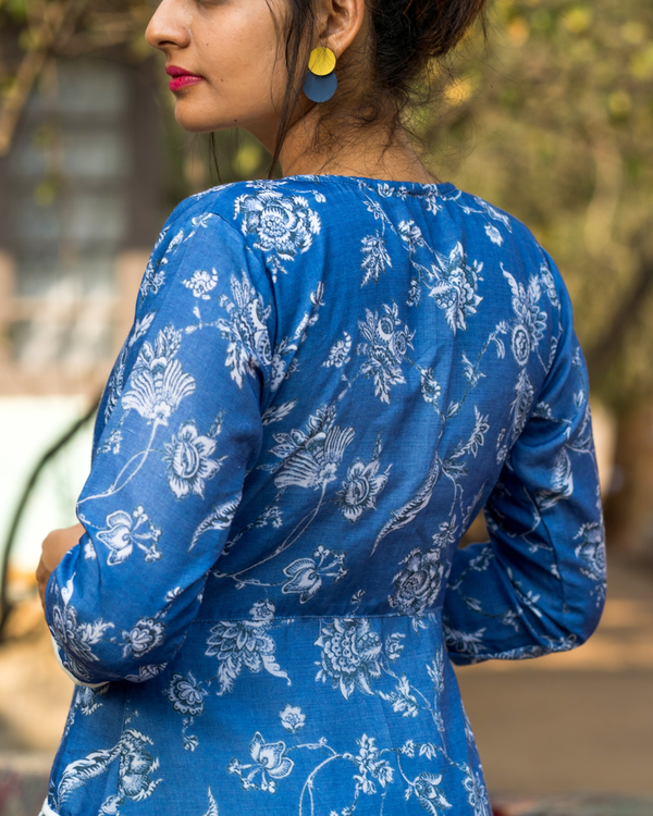 Blue printed jacket with dress 1