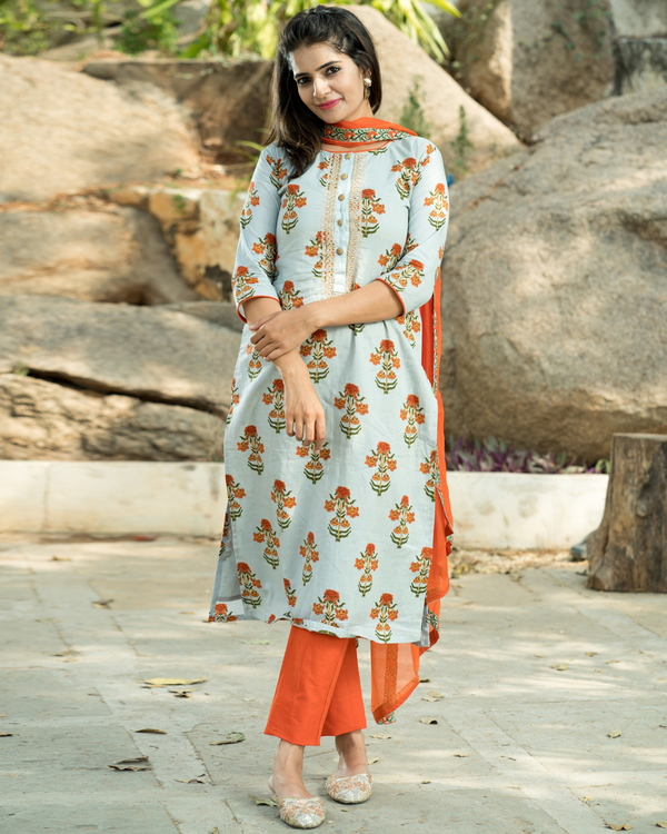 Orange boota kurta set with dupatta 1