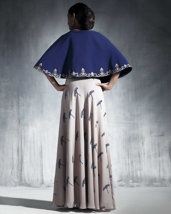 Ecru georgette silk skirt 1