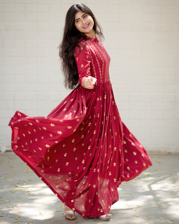 Red block printed flared dress 1
