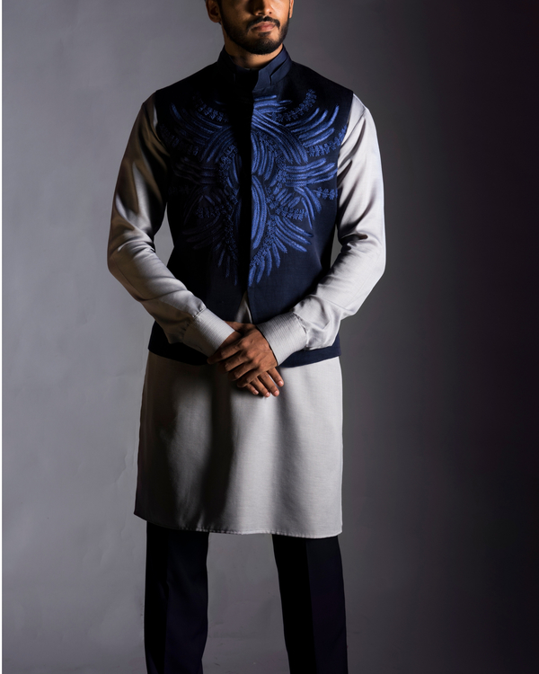 Navy blue embroidered coat 1