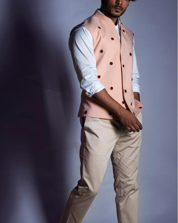 Powder pink embroidered nehru coat 1