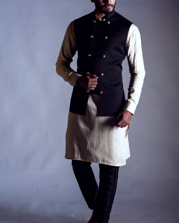 Black antique nehru coat 1