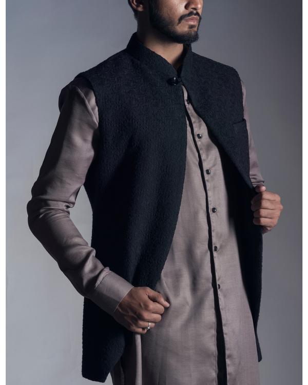Jet black chikankari nehru jacket 1