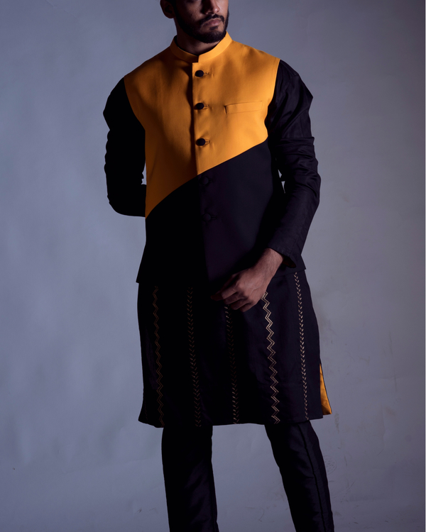 Colourblock nehru jacket set 1