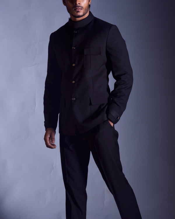 Classic black jacket with trousers 1