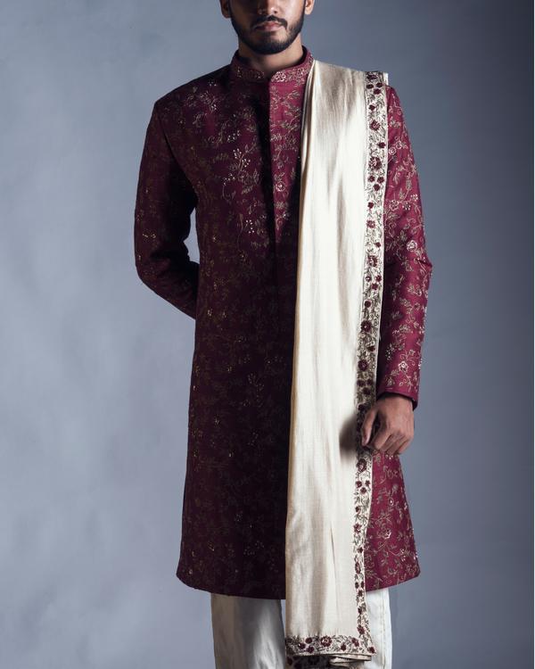Raw silk maroon sherwani with dupatta and chudidar 1