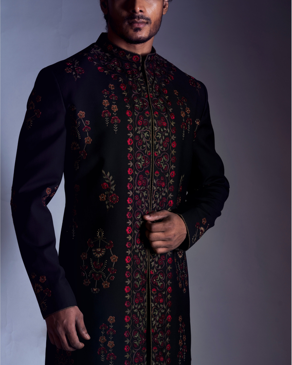 Black embroidered sherwani with trousers 1