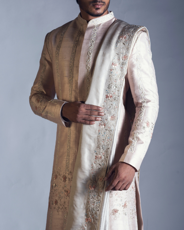Pink embroidered silk sherwani set 1